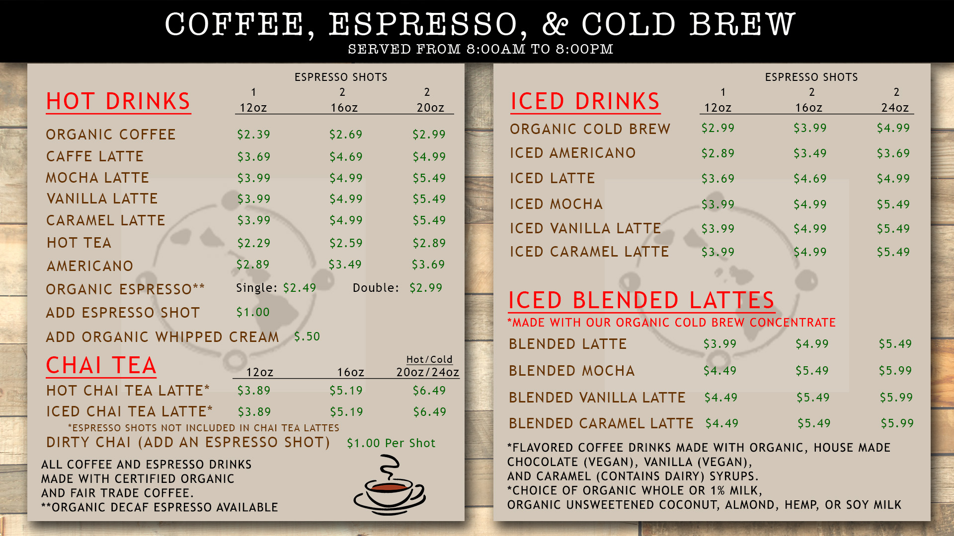 Aloha Coffee Menu